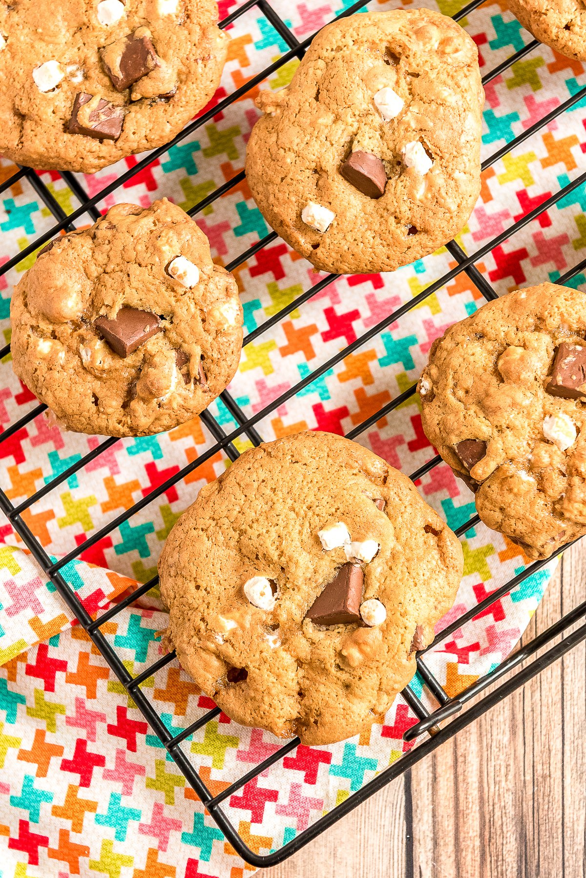 S'mores cookies on a cooling rack.