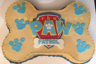 2 web bone shaped fondant logo Paw Patrol w