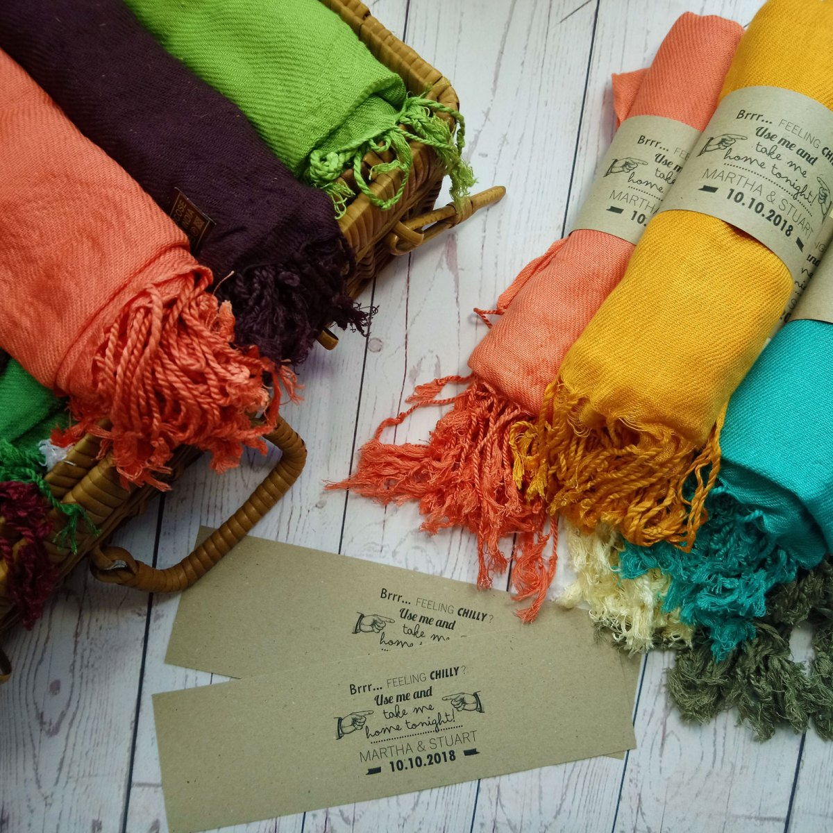 pashmina wedding favour in different colours rustic feel
