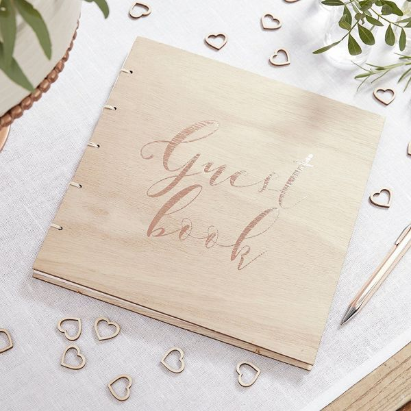 9545c3573d7 Wooden Rose Gold Foiled Guest Book - Sugar Crush Weddings