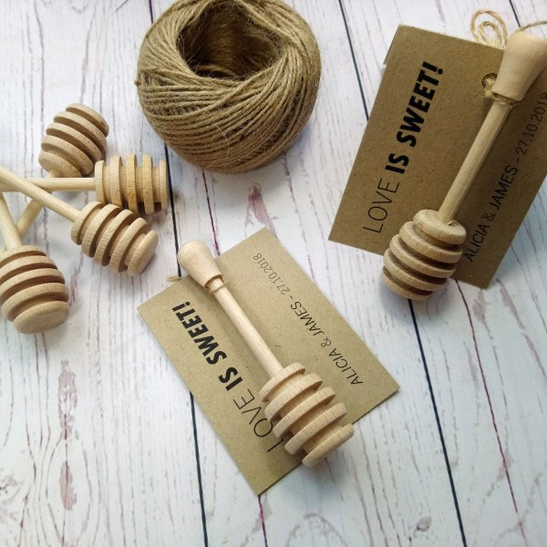 Honey Drizzler Spoon Love Is Sweet Wedding Favour. Wooden drizzler