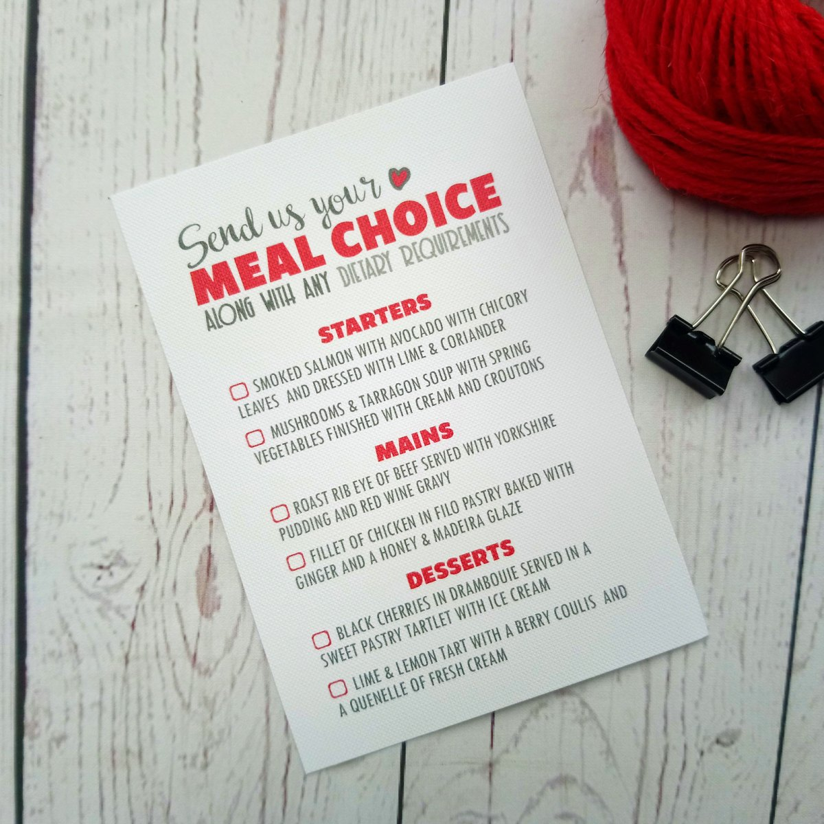 Meal Choice with tick boxes Lovers Bike Love heart Wedding Menu Card