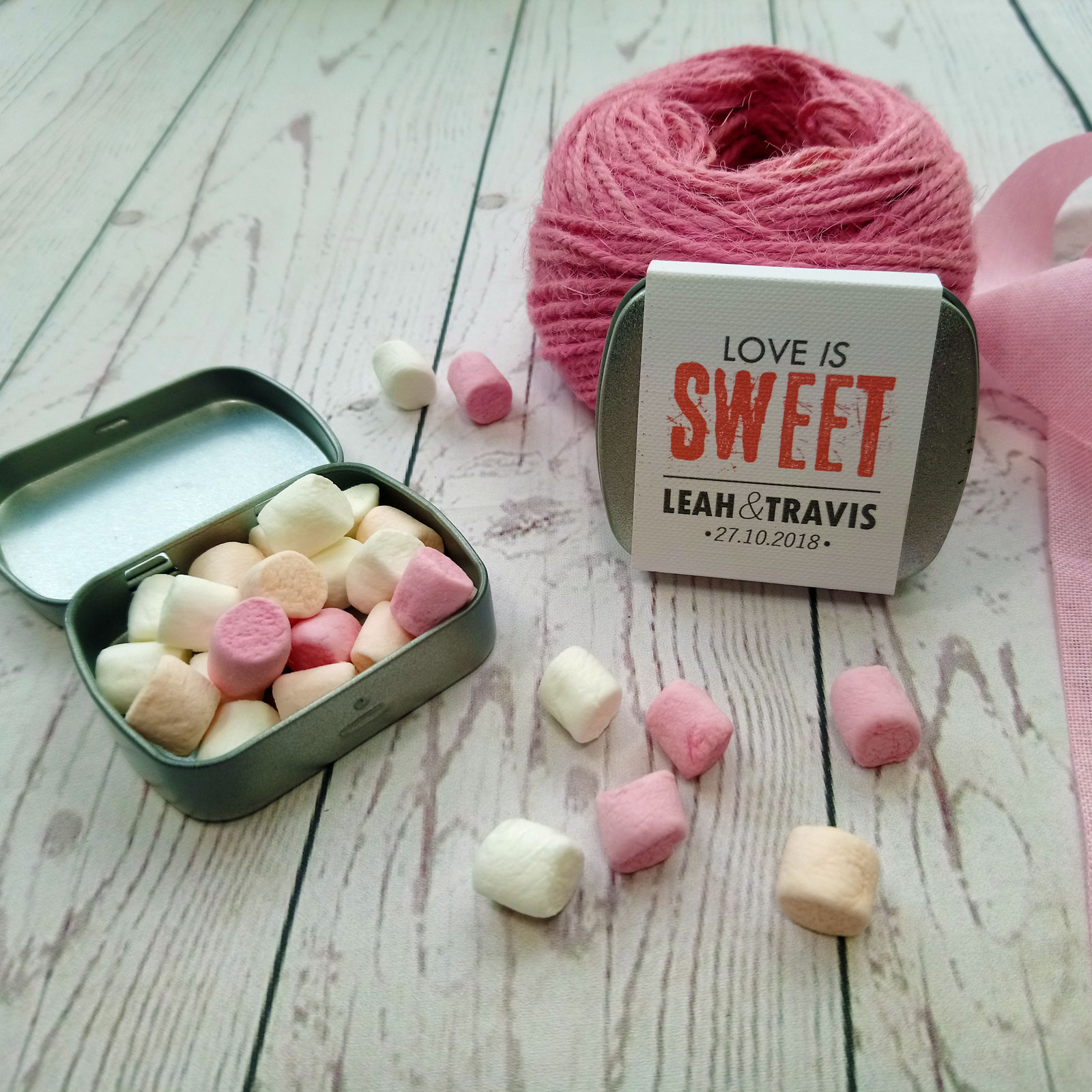 Marshmallow Tin Wedding Favour Love is Sweet