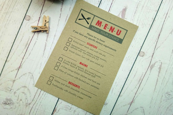 Passport Destination Travel Menu Card meal choice with tick boxes to return along with the RSVP card