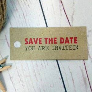 Brown Craft Passport Destination Travel Tag Save The Date You are invited!