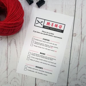 Movie Concert Photo Ticket Wedding Menu card with tick boxes for meal choice. Colours are black and red