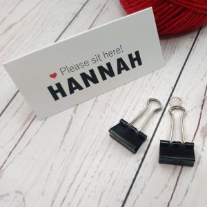 Movie Concert Photo Ticket Place cards 'Please sit here' with wedding guest name in black and red heart
