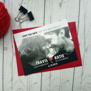 Movie Concert Photo Ticket Save The Date. Contains a picture of the future bride and groom with their names on white