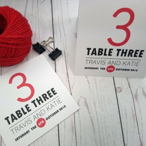 Movie Concert Photo Ticket Wedding Table Number in red and black on white textured card
