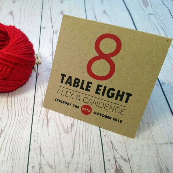 Photo Booth Wedding Table Number in craft card with table number in red