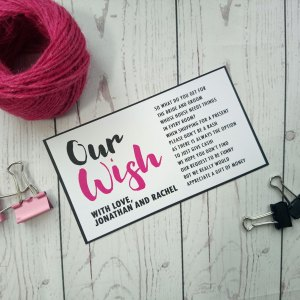 Polka Dot Honeymoon Wish Poem in black and fuchsia