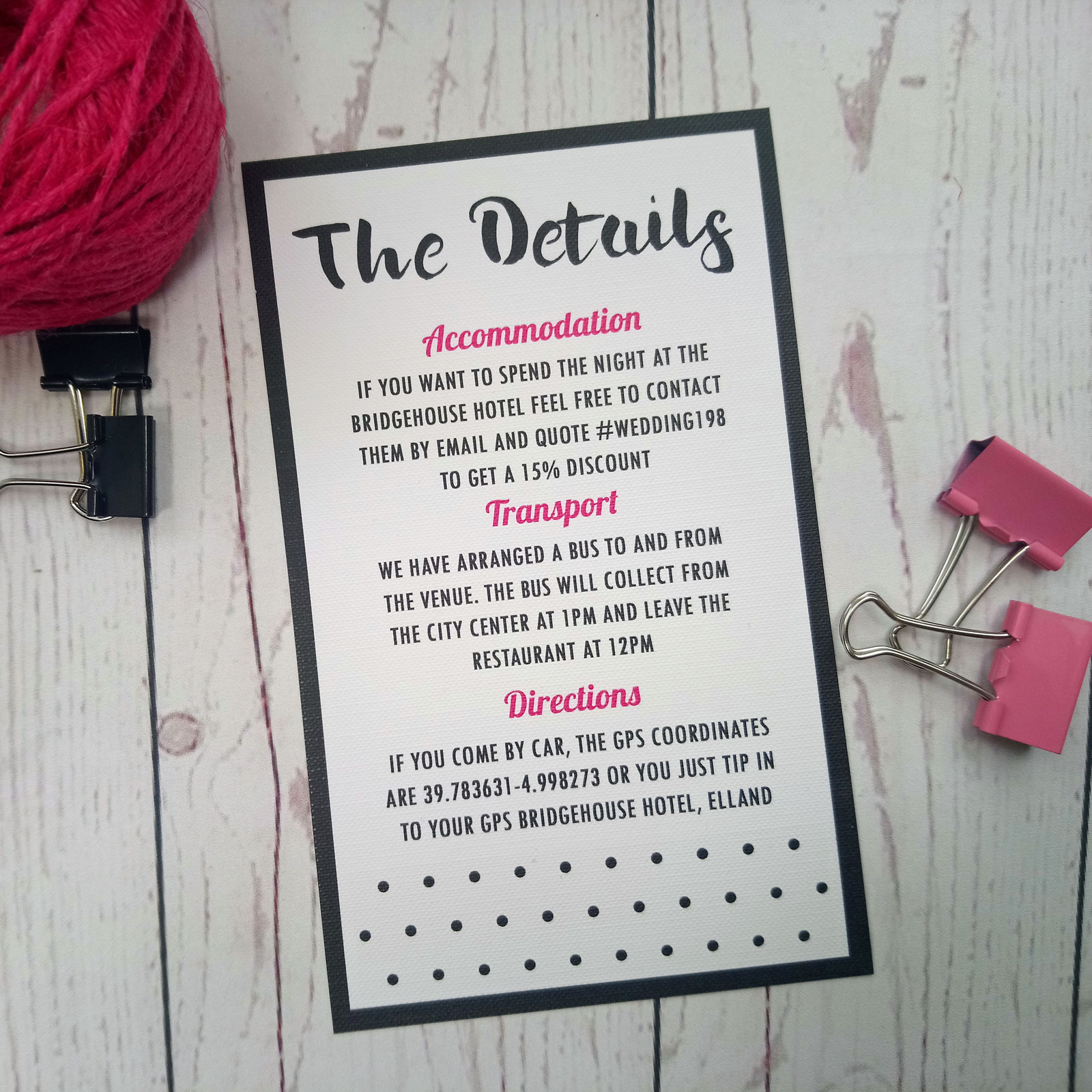 Polka Dot Information Card. Info card in black and pink with title 'The Details'
