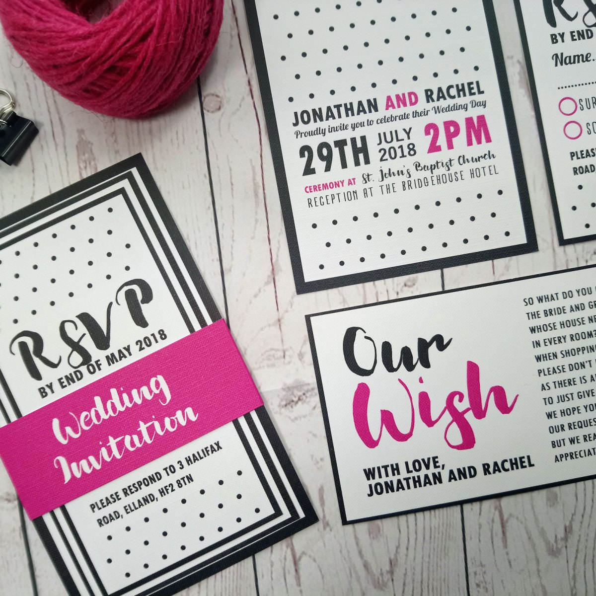 Polka Dot Wedding Invitation Full Set with Pink Banner. Set contains main invite, RSVP card and Honeymoon Wish Poem