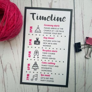 Polka Dot Timeline. Timeline card in the classic polka dot style in black and pink.