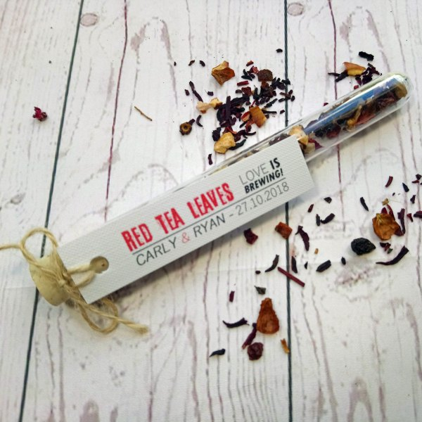 Rustic Red Tea Leaves Tube Wedding Favour with tag and twine