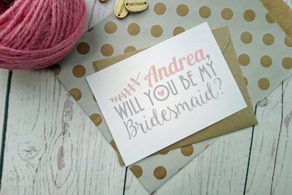 Miniature Vintage Birds Bridesmaid Request with craft envelope