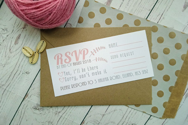 Vintage Birds RSVP card with craft envelope