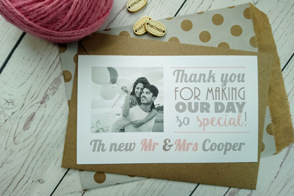 Vintage Birds Thank You Card with black and white picture of the bride and groom