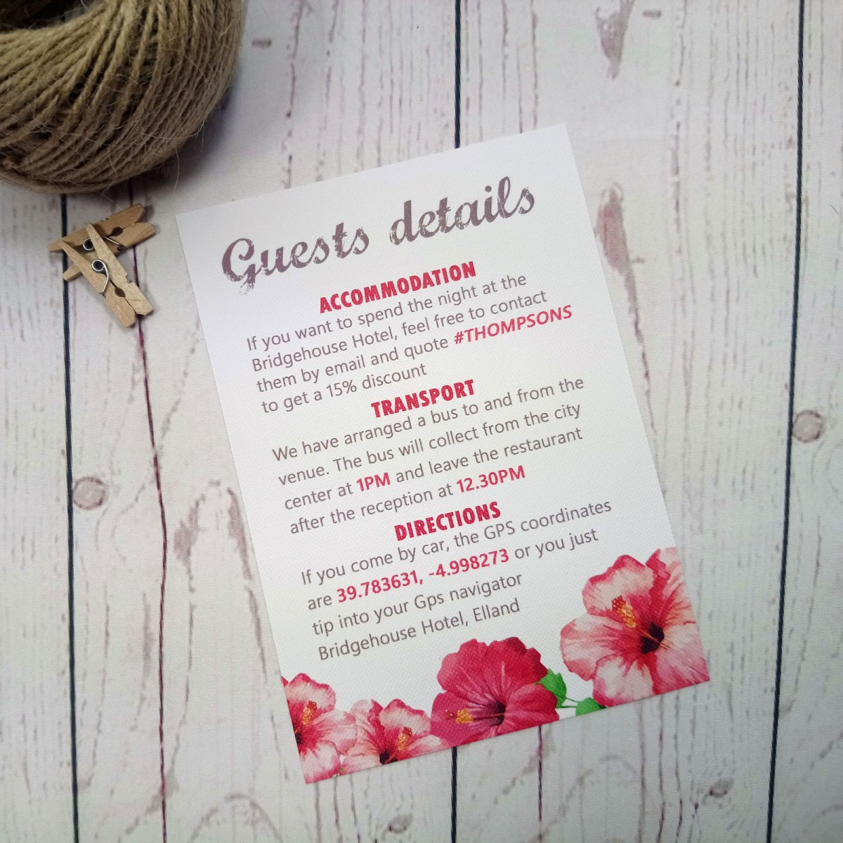 Watercolour Flowers Information Card with title Guest Details to put at the back of the set