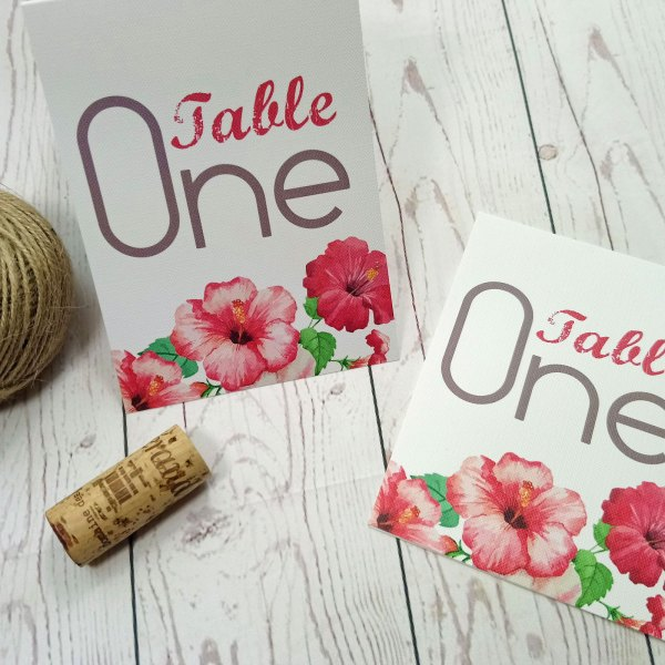 Watercolour Flowers Table Number folded up to stand up on the table