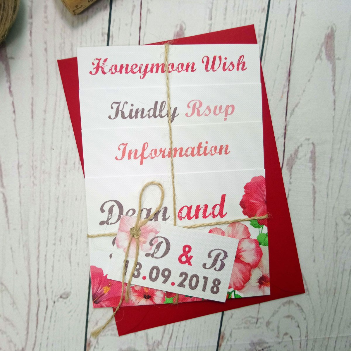 Watercolour Flowers Wedding Invitation Set with matching red envelope