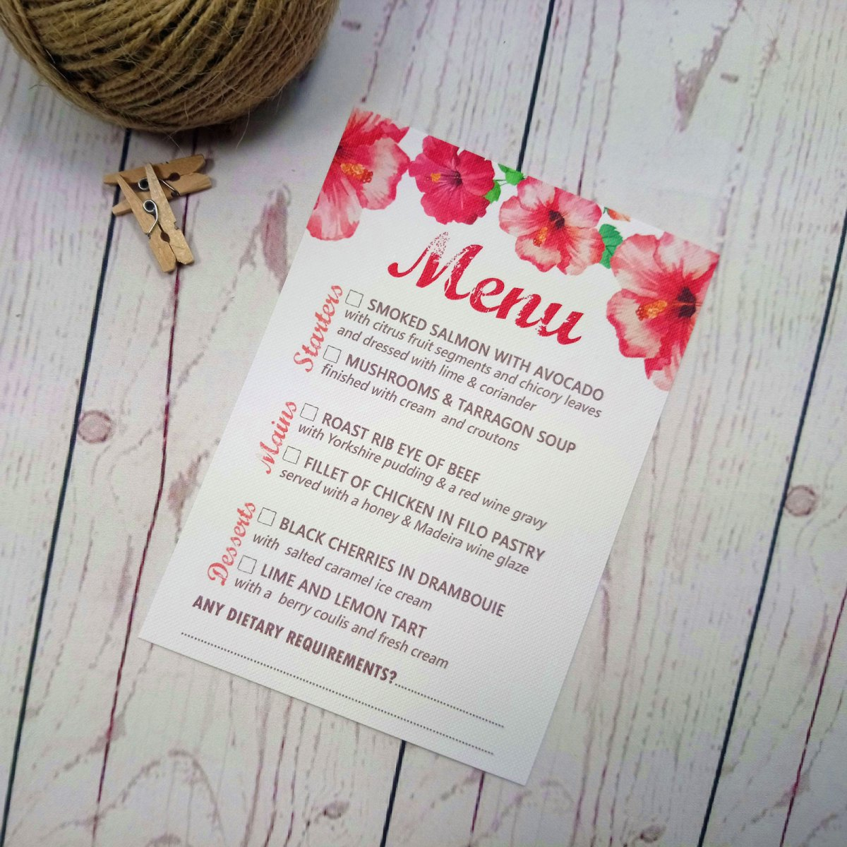 Watercolour Flowers Menu Card with retro watercolour flowers at the top. Meal choice with tick boxes