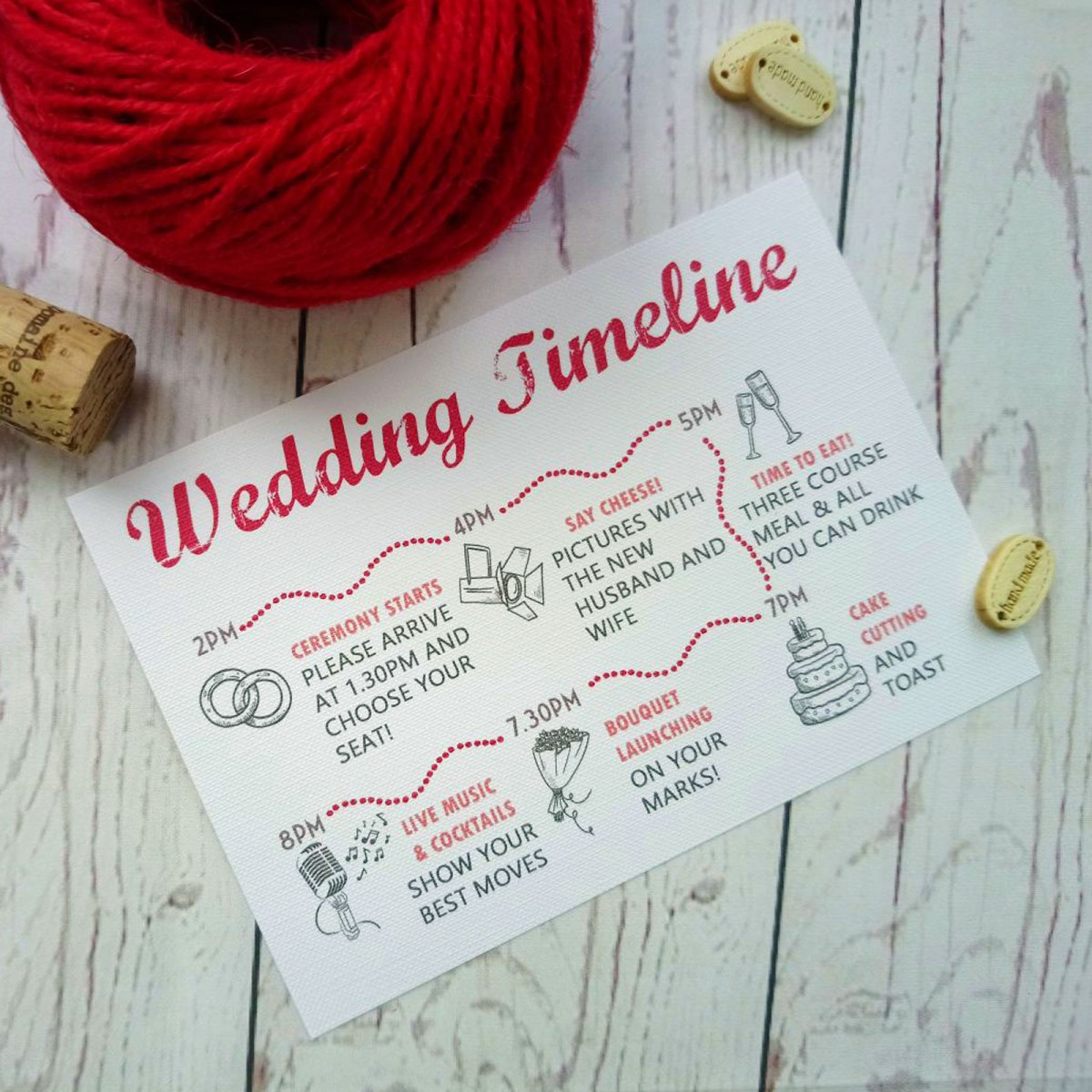 Watercolour Flowers Wedding Timeline in red and pink shades