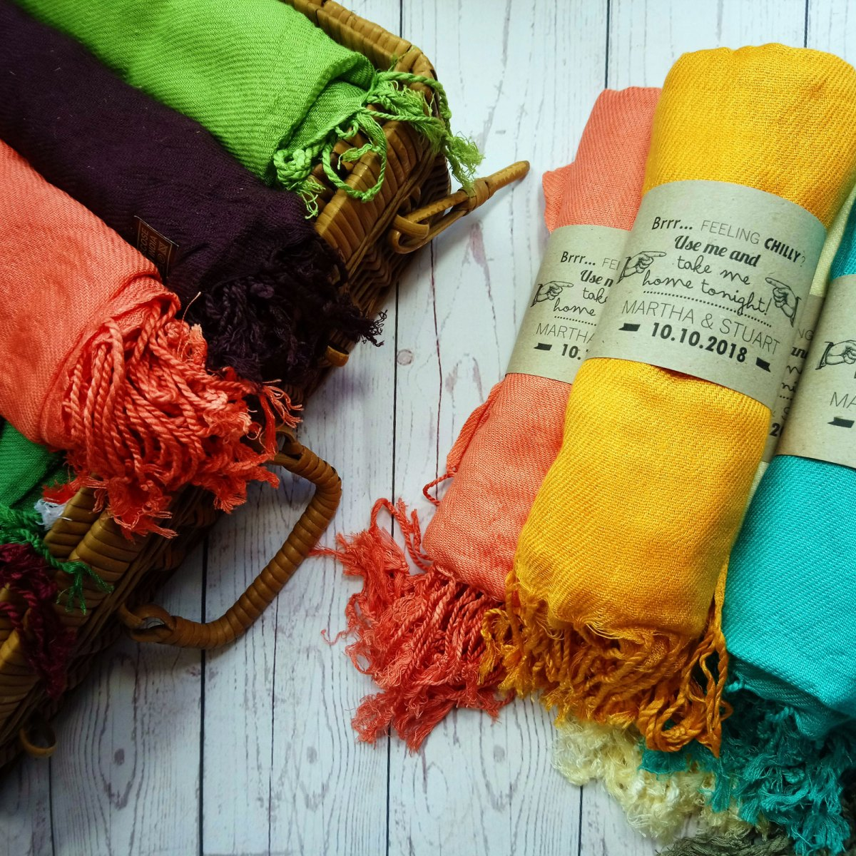 Assorted Pashminas Wedding Favour Rustic Feel Vintage wedding
