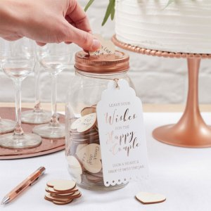 Wishing Jar Wedding Guest Book with wooden hearts