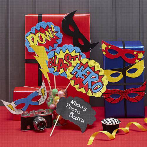 Comic Book Super Hero Photo Booth Props Kit with super hero masks and speech bubbles