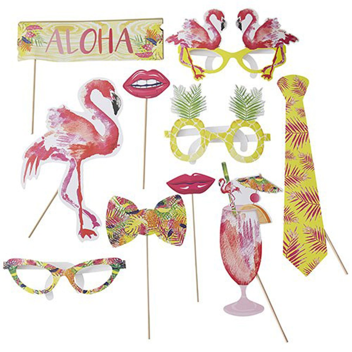 Flamingo Fun Party Photo Booth Props Kit with pineapple, cocktail, party flamingo and glsses