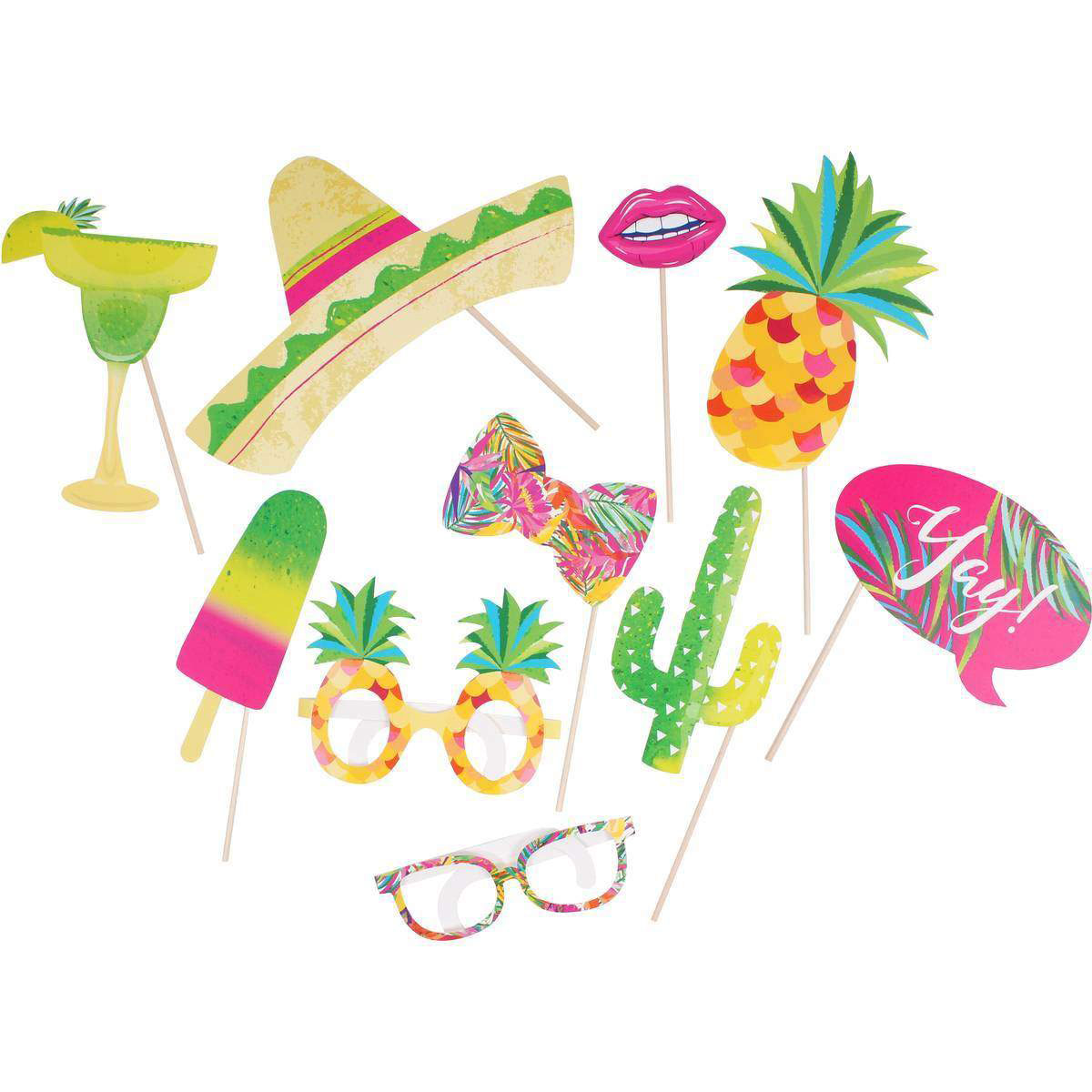 Hot Summer Party Photo Booth Props Kit sombrero pineapple glasses
