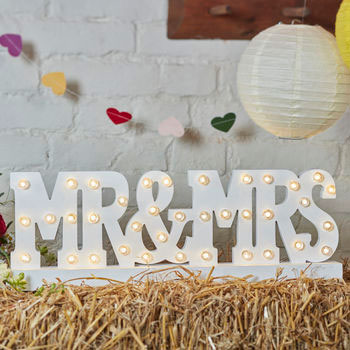 Mr and Mrs Wooden Sign Lights