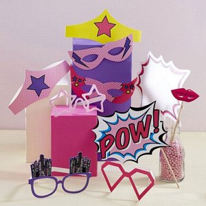 Pink Pop Art Party Photo Booth Props with masks and glasses speech bubble super hero