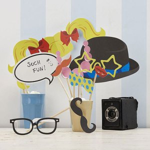 Vintage Classy Photo Booth Props Kit with bowler hat,moustache and glasses