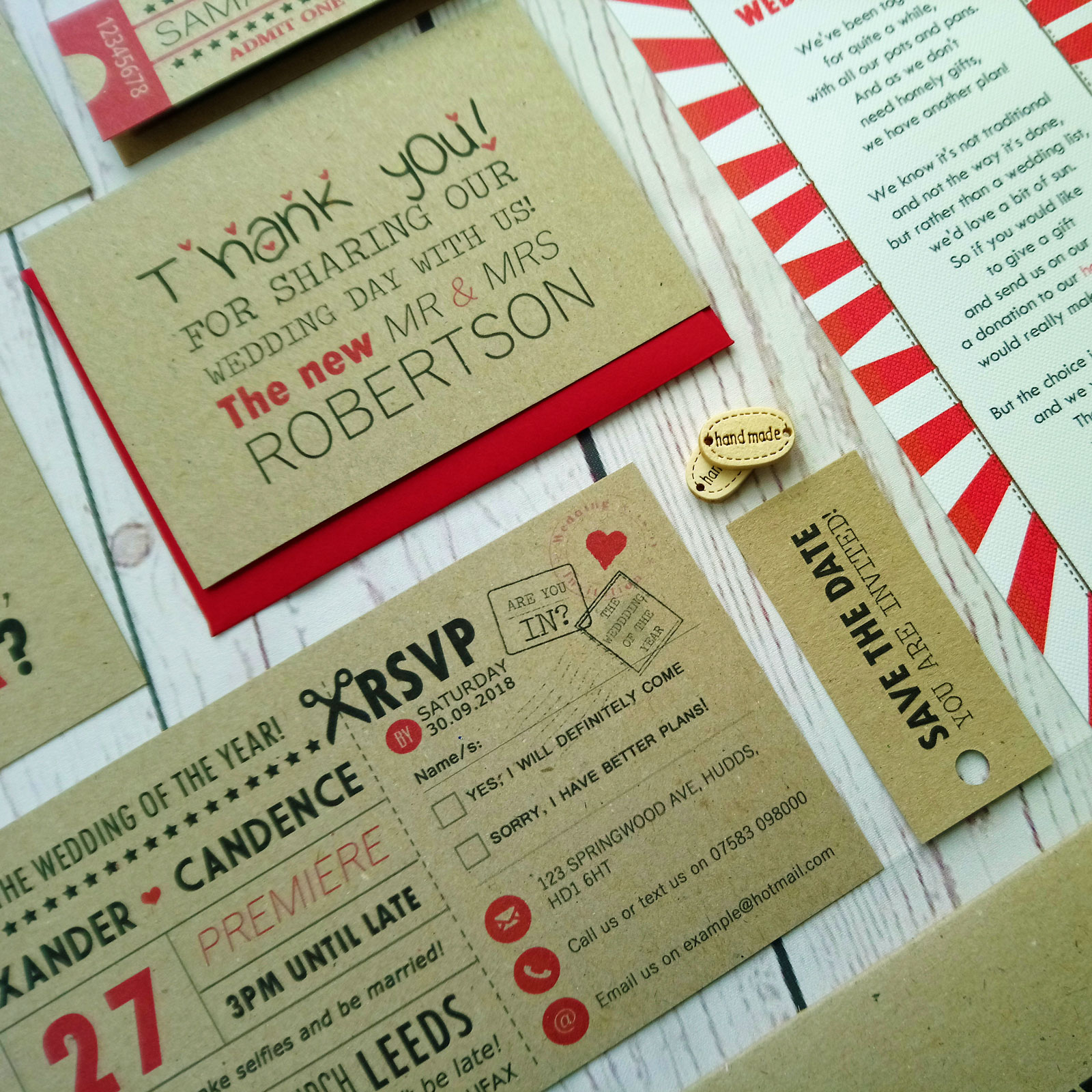 Craft Cinema Movie Ticket Wedding Invitation - Sugar Crush Weddings