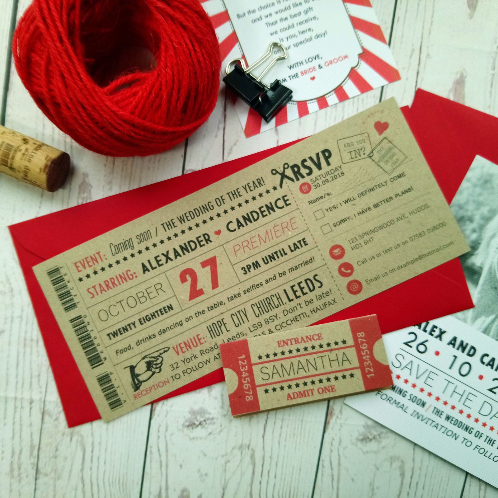 Craft Cinema Movie Wedding Invitation