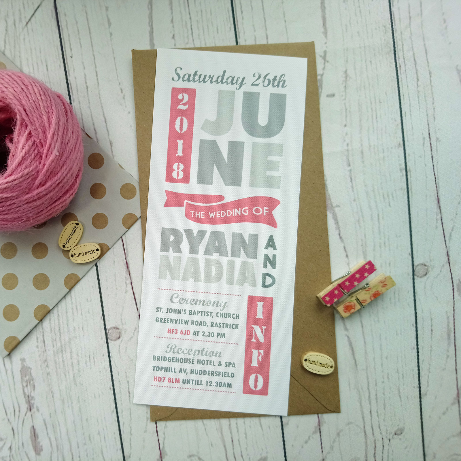 Minimalist Pink Banners Wedding Invitation - Sugar Crush Weddings