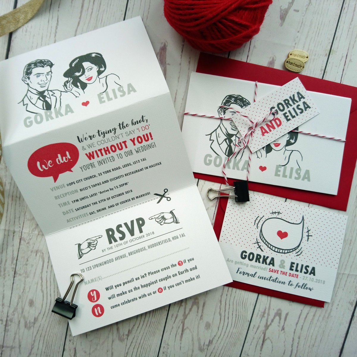Vintage Comic Book Couple Wedding Invitation triptych style with rsvp and red envelope