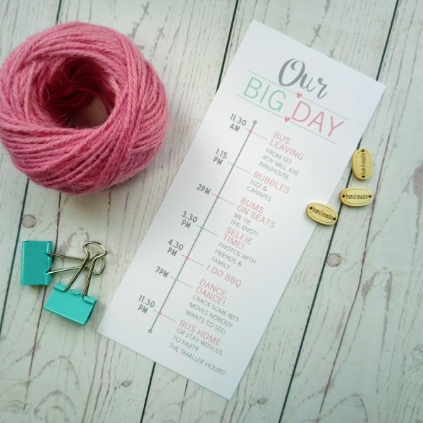 Romantic We Do Timeline our big day activitites of the wedding day