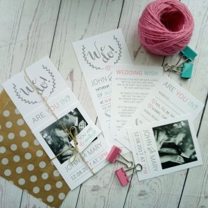 We Do Picture Wedding Invitation Set 4 layers