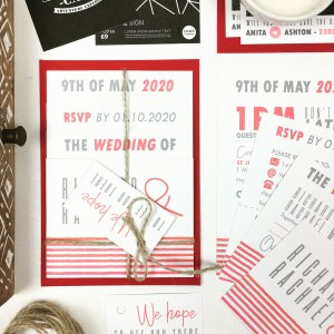 Romantic Red Stripes Wedding Invitation Set Collection