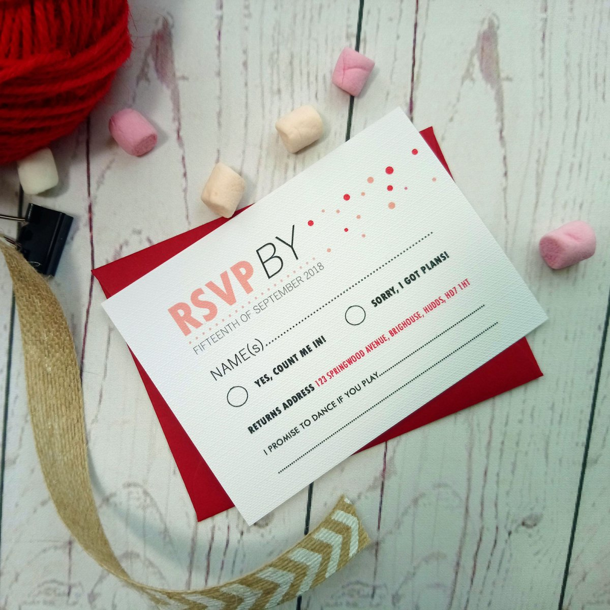 Red and Pink Polka Dot RSVP