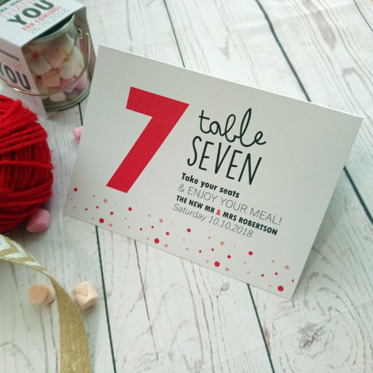 Red and Pink Polka Dot Table Number