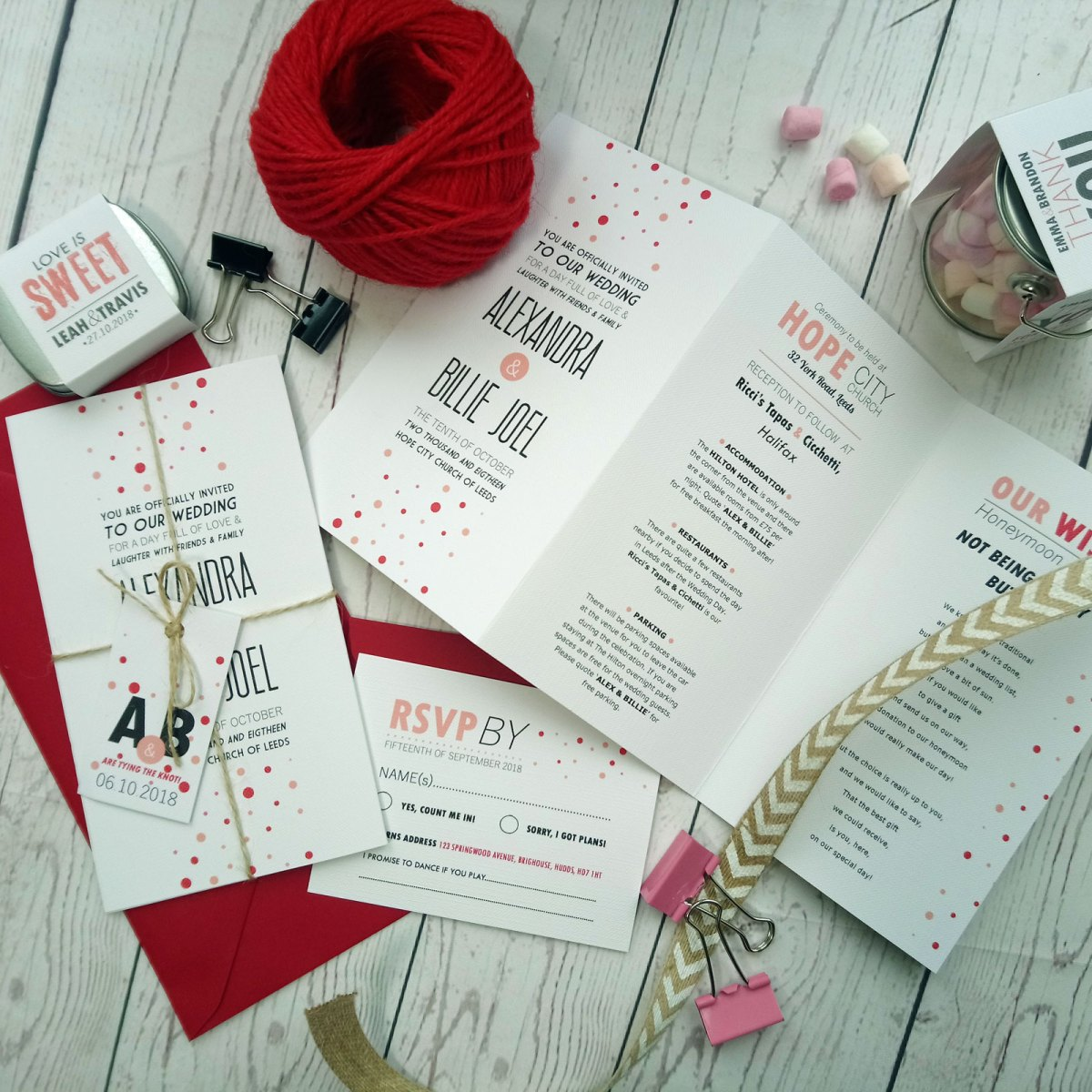 Red and Pink Polka Dot Tri Fold Wedding Invitation General View