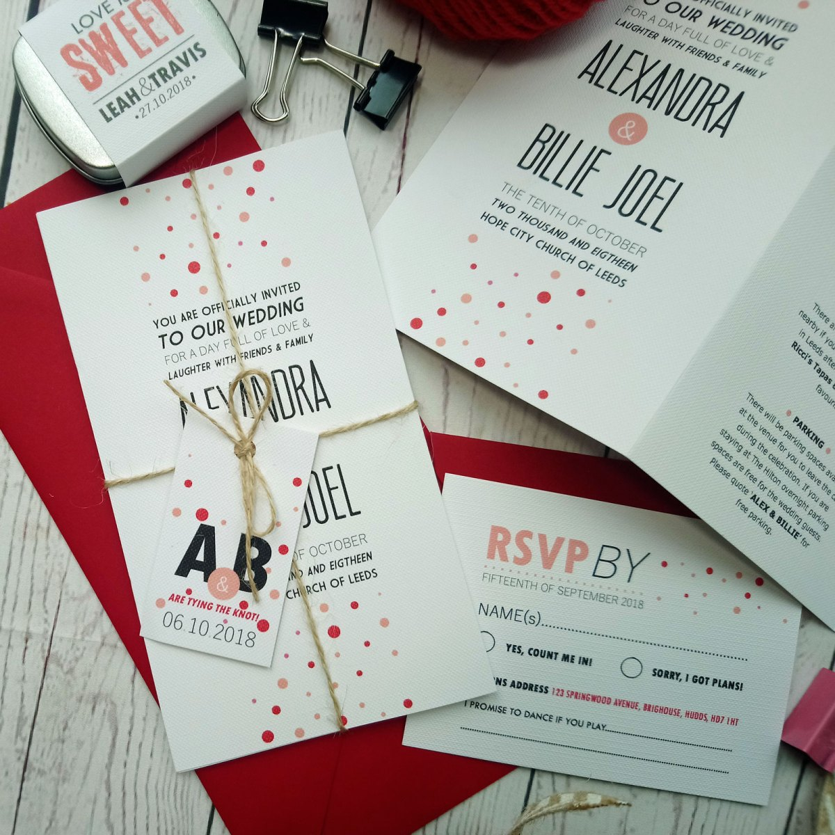Red and Pink Polka Dot Tri Fold Wedding Invitation