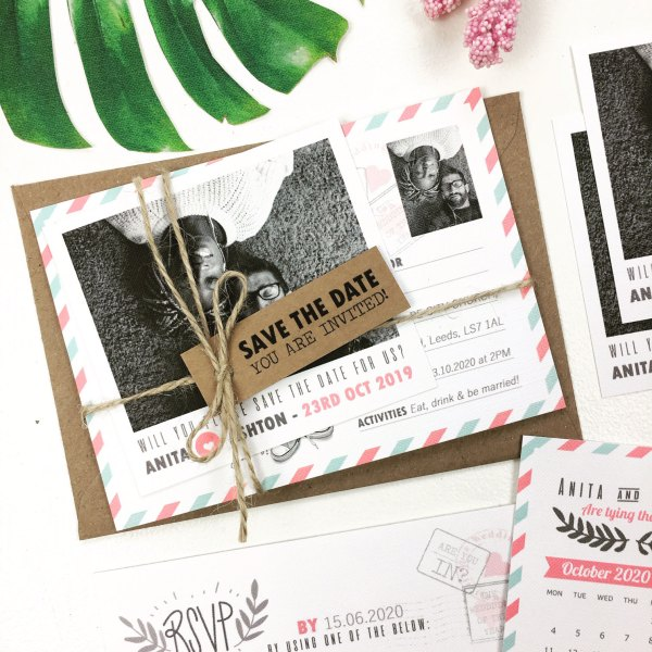 Pack With Polaroid Picture, Tag, Twine, Invite Card and RSVP Card