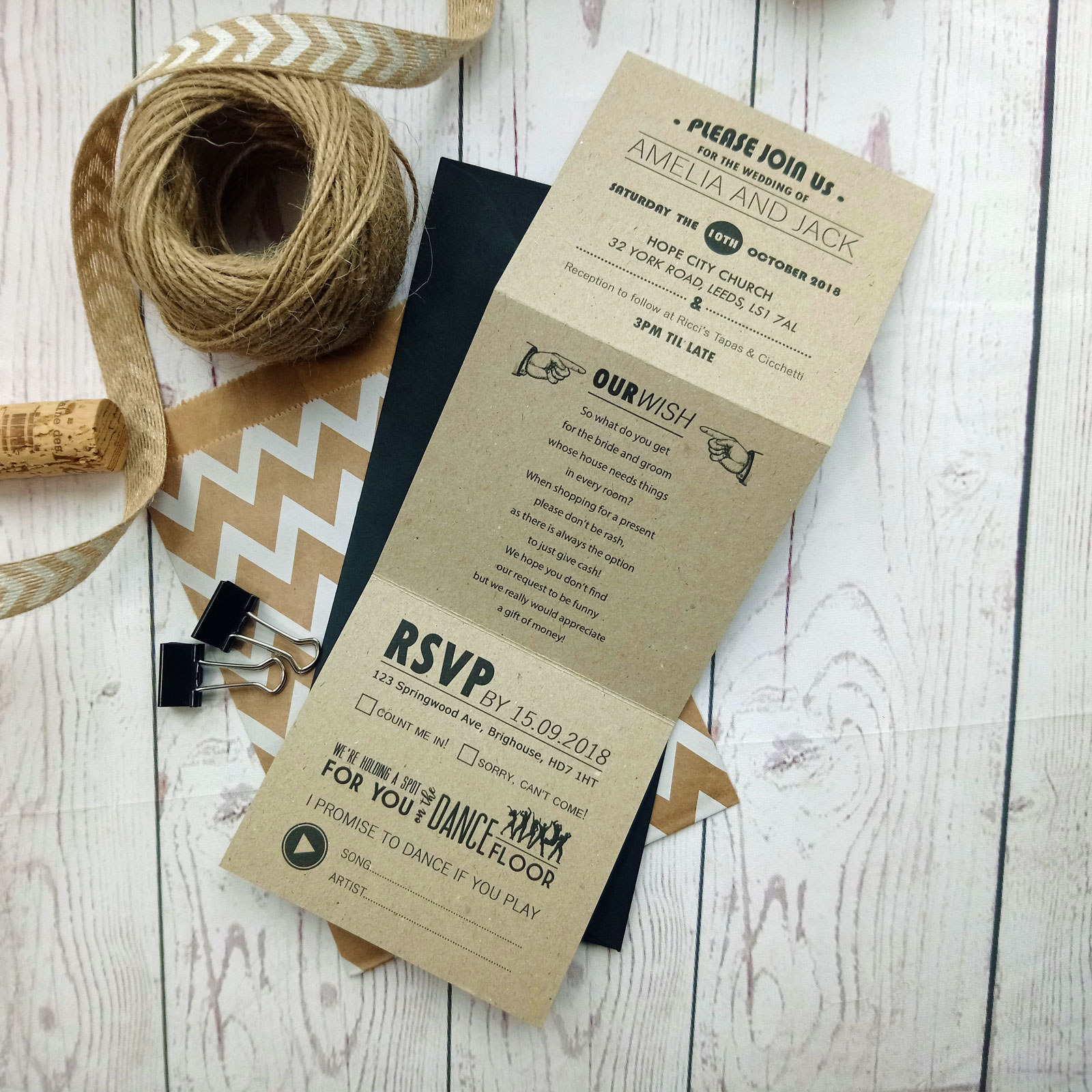 Rustic Craft Picture Wedding Invitation - Sugar Crush Weddings