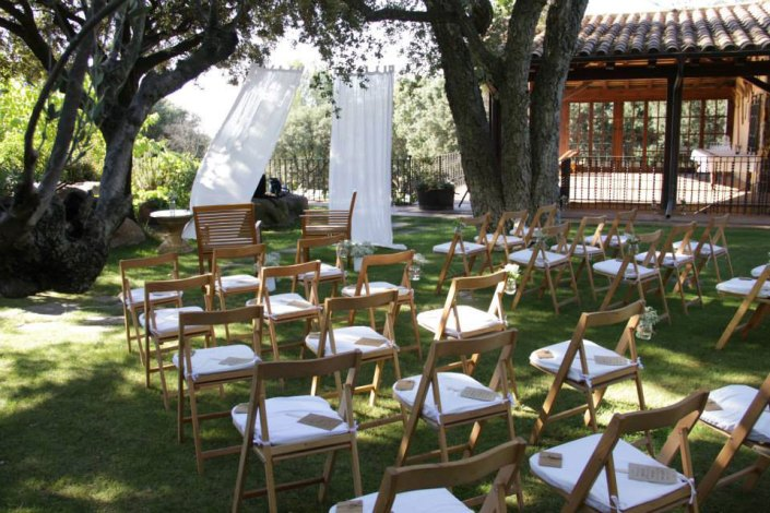 Al Fresco Wedding Reception white decoration for chairs