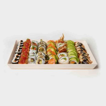 Sushi platter on white background